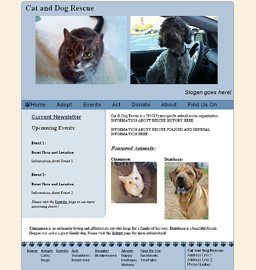 Sample Design for Cat & Dog Rescue Website snapshot