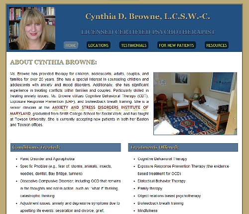 Cynthia Browne Therapy website snapshot