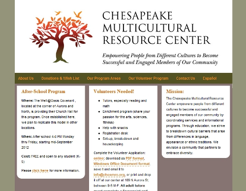Chesapeake Multicultural Resource Center website snapshot