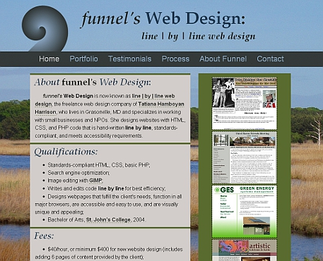 funnel's web design website version 2 snapshot