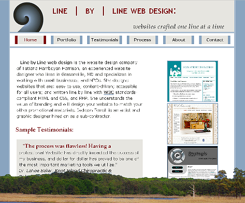 Line by Line web design, version 1 snapshot