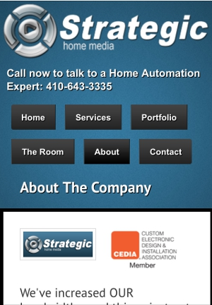 Mobile view of Strategic Home Media's website