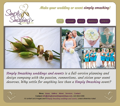 Simply Smashing Weddings & Events website snapshot
